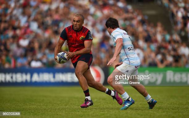 Bordeaux France 22 April 2018 Simon Zebo of Munster in action against Henry Chavancy of Racing 92 during the European Rugby Champions Cup semifinal...