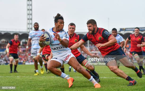 Bordeaux France 22 April 2018 Teddy Thomas of Racing 92 in action against Sam Arnold of Munster during the European Rugby Champions Cup semifinal...
