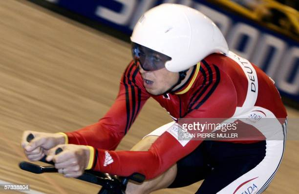 Germany's Robert Bartko competes for gold in the men's individual pursuit final during the UCI Track Cycling World Championships in Bordeaux, 14...