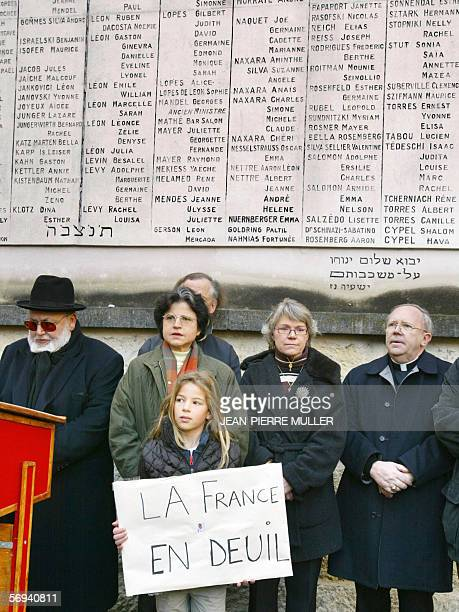 Rabi Claude Maman Cardinal JeanPierre Ricard and other religious officials are pictured in front of the Jewish martyr memorial of Bordeaux's...