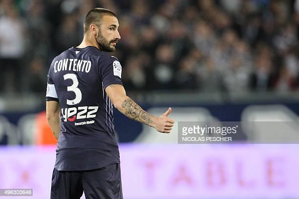 Bordeaux German defender Diego Contento gestures during the French L1 football match Bordeaux vs Monaco at the Matmut Atlantique stadium in Bordeaux...