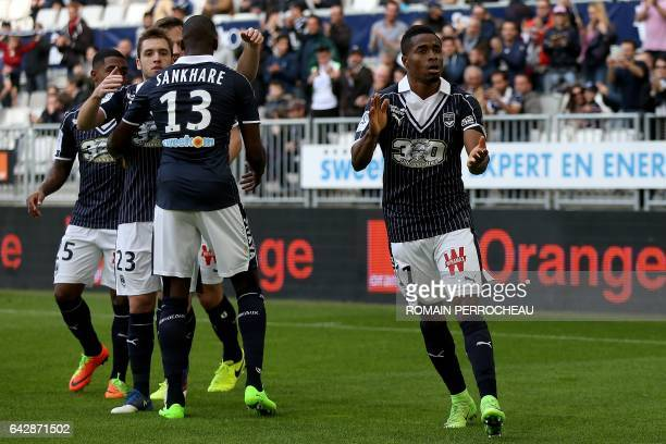 Bordeaux' Guinean forward Francois Kamano cheers on after scoring a goal during the French L1 football match Bordeaux vs Guingamp on February 19 2017...