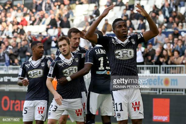 Bordeaux' Guinean forward Francois Kamano reacts after scoring a goal during the French L1 football match Bordeaux vs Guingamp on February 19 2017 at...