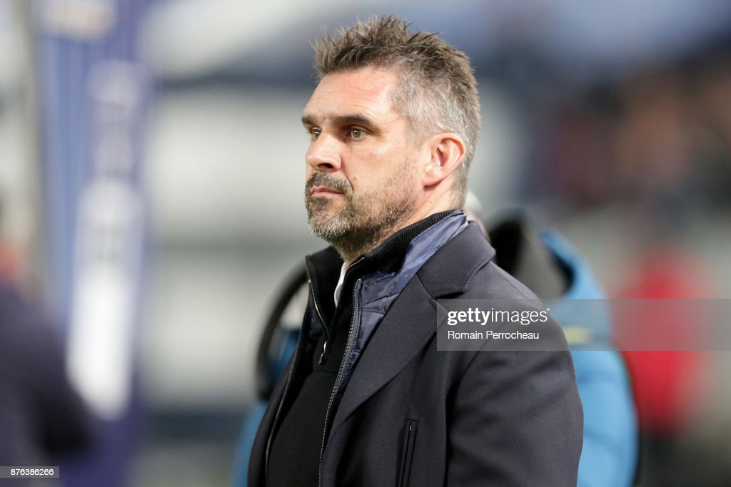 Bordeaux' head coach Jocelyn Gourvennec looks on before the Ligue 1 match between FC Girondins de Bordeaux and Olympique Marseille at Stade Matmut Atlantique on November 19, 2017 in Bordeaux, .