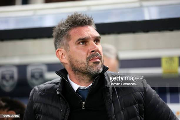 Bordeaux' head coach Jocelyn Gourvennec looks on before the Ligue 1 match between FC Girondins de Bordeaux and Strasbourg at Stade Matmut Atlantique...