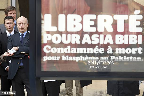 Bordeaux Mayor Alain Juppe attends on March 19 2015 the unveiling of a poster in the courtyard of the City Hall in the southwestern French city in...