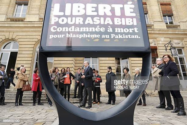Bordeaux Mayor Alain Juppe speaks on March 19 2015 during the unveiling of a poster in the courtyard of the City Hall in the southwestern French city...