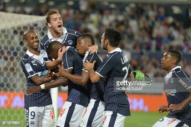 Bordeaux' players celebrate after scoring a goal during the French L1 football match between Bordeaux and Bastia on April 22 2017 at the Matmut...