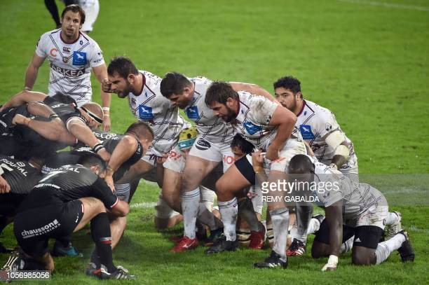 Bordeaux' players prepare for a scrum during the French Top 14 rugby union match between Toulouse and Bordeaux at Ernest Wallon Stadium in Toulouse...