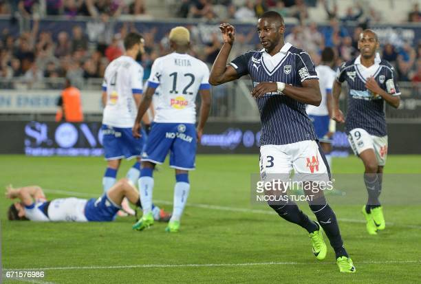 Bordeaux' Senegalese midfielder Younousse Sankhare celebrates after scoring a goal during the French L1 football match between Bordeaux and Bastia on...