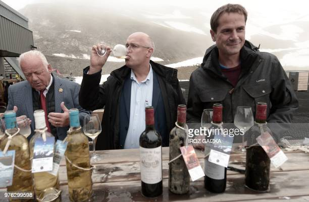 Bordeaux winemaker Franck Labeyrie attends a wine tasting session of his wine in Cauterets Pyrenees southern France on June 7 2018 Labeyrie has...