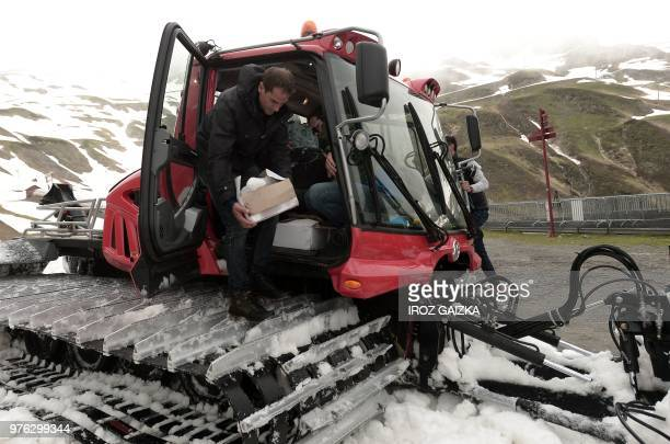 Bordeaux winemaker Franck Labeyrie unloads his boxes with wine in Cauterets Pyrenees southern France on June 7 2018 Labeyrie has recovered his...