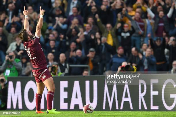 Bordeaux-Begles' Argentinian winger Santiago Cordero reacts after scoring a try during the French Top14 rugby union match between Bordeaux-Begles and...