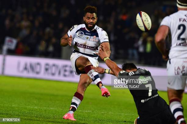 BordeauxBegles' Fijian wing Metuisela Talebula kicks a drop goal during the French Top 14 rugby union match between BordeauxBegles and Brive on...