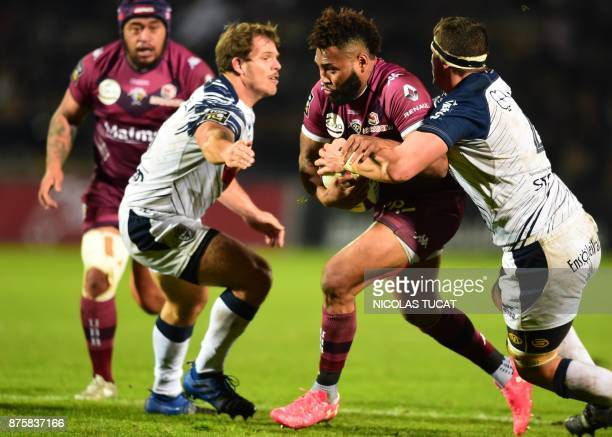 BordeauxBegles' Fijian wing Metuisela Talebula runs with the ball during the French Top 14 rugby union match between BordeauxBegles and Agen on...