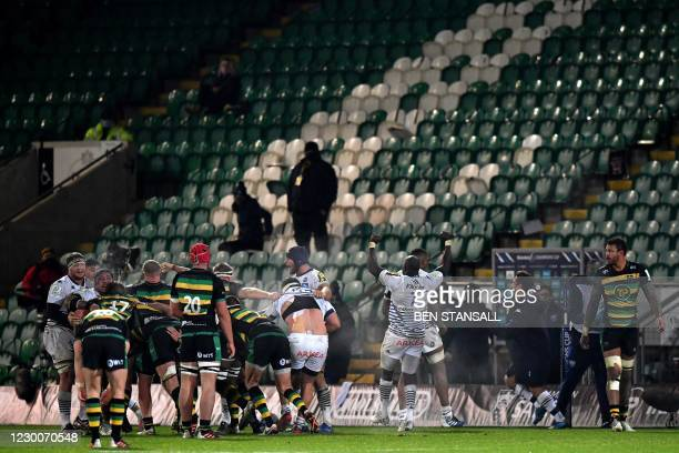 Bordeaux-Begles' French flanker Mahamadou Diaby celebrates at the final whistle during the European Rugby Champions Cup rugby union Group A match...
