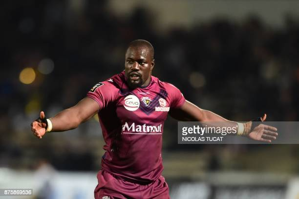 BordeauxBegles' French flanker Mahamadou Diaby gestures during the French Top 14 rugby union match between BordeauxBegles and Agen on November 18...