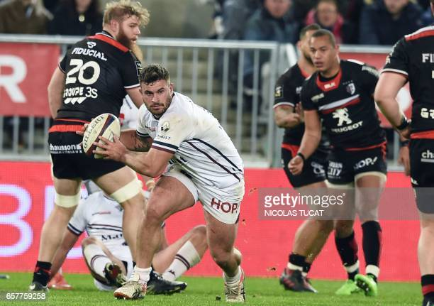 BordeauxBegles' French flanker Marco Tauleigne runs with the ball during the French Top 14 rugby union match between BordeauxBegles and Toulouse on...