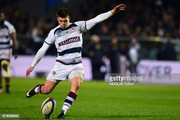 BordeauxBegles' French flyhalf Matthieu Jalibert kicks the ball during the French Top 14 rugby union match between BordeauxBegles and Brive on...