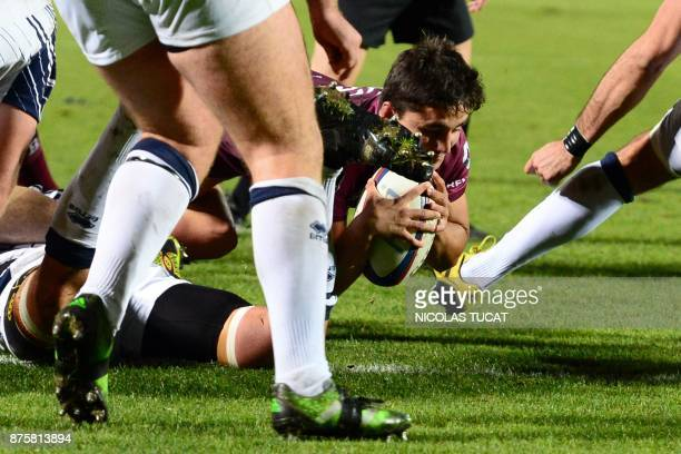 BordeauxBegles' French scrumhalf Gauthier Doubrere scores a try during the French Top 14 rugby union match between BordeauxBegles and Agen on...