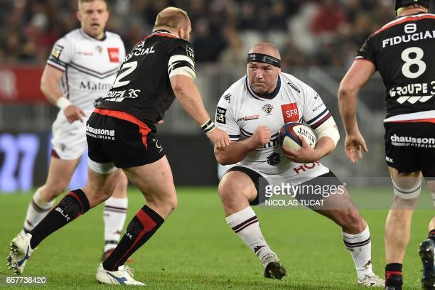 BordeauxBegles' Moldavian prop Vadim Cobilas runs with the ball during the French Top 14 rugby union match between BordeauxBegles and Toulouse on...