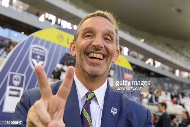 Bordeaux's American owner Joe DaGrosa gestures prior to the French L1 football match between Bordeaux and Lyon on April 26 2019 at the Matmut...
