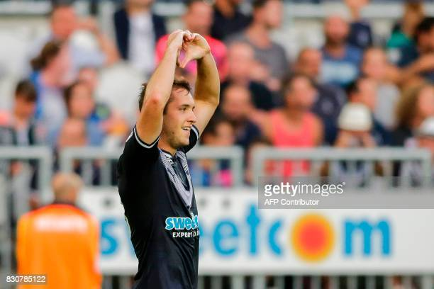 Bordeaux's Argentinian midfielder Valentin Vada celebrates after scoring a goal during the French L1 football match Bordeaux vs Metz on August 12...