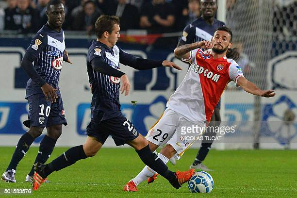 Bordeaux's Argentinian midfielder Valentin Vada fights for the ball with Monaco's midfielder Gabriel Boschilia during the French League Cup football...
