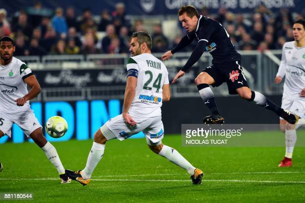 Bordeaux's Argentinian midfielder Valentin Vada kicks the ball during the French L1 football match between Bordeaux and SaintEtienne on November 28...