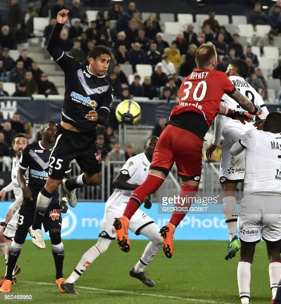 Bordeaux's Brazilian defender Nascimento Castro kicks the ball and scores during the French L1 football match between FC Girondins de Bordeaux and...