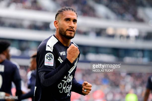 Bordeaux's Brazilian defender Pablo celebrates after scoring a goal during the French L1 football match between FC Girondins de Bordeaux and AS...
