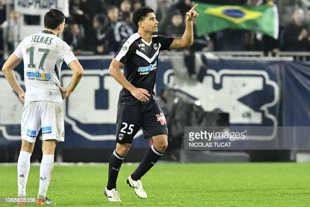 Bordeaux's Brazilian defender Pablo celebrates after scoring during the French L1 football match between FC Girondins de Bordeaux and AS...
