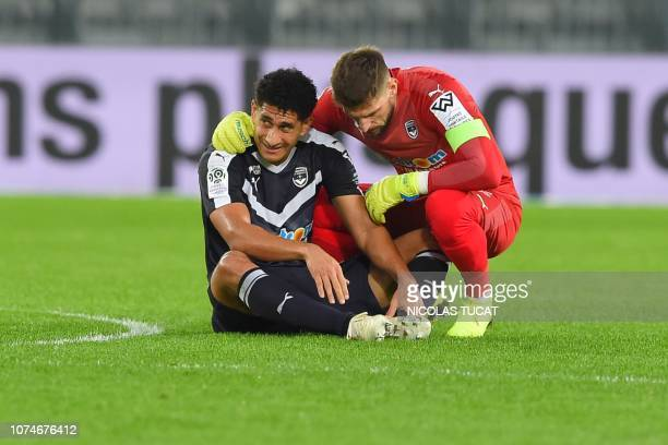 Bordeaux's Brazilian defender Pablo reacts after getting injured during the French L1 football match between Bordeaux and Amiens on December 23 2018...
