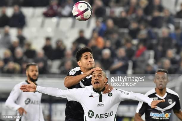 Bordeaux's Brazilian defender Pablo vies with Saint-Etienne's Tunisian midfielder Wahbi Khazri during the French L1 football match between FC...