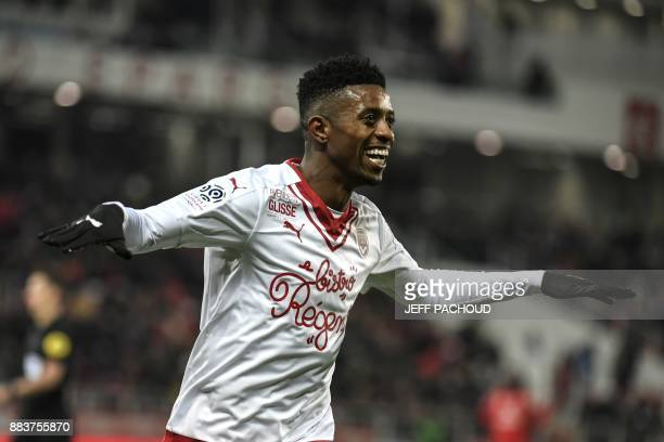 Bordeaux's Brazilian forward Jonathan Cafu celebrates after scoring a goal during the French L1 football match between Dijon and Bordeaux at Gaston...