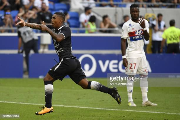 Bordeaux's Brazilian forward Malcom celebrates after scoring a goal during the L1 football match Olympique Lyonnais vs FC Girondins de Bordeaux on...