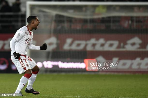Bordeaux's Brazilian forward Malcom celebrates after scoring a goal during the French L1 football match between Dijon and Bordeaux at Gaston Gerard...