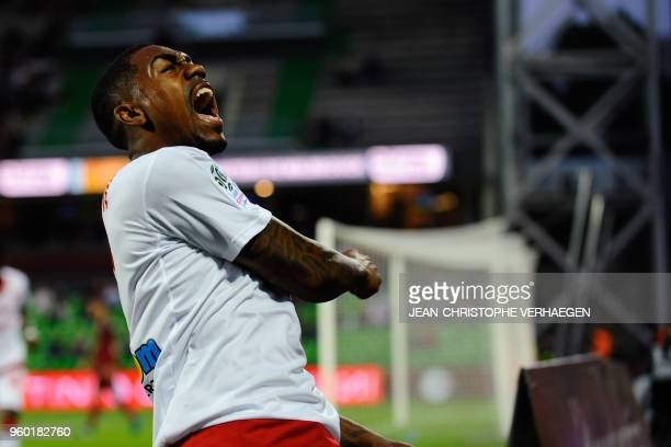 Bordeaux's Brazilian forward Malcom celebrates after scoring against Metz during the French L1 football match between Metz and Bordeaux on May 19 at...