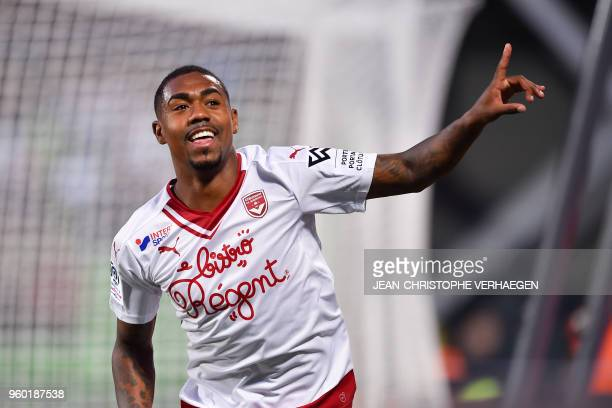Bordeaux's Brazilian forward Malcom celebrates after scoring against Metz during the French L1 football match between Metz and Bordeaux on May 19,...