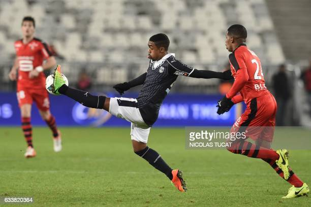 TOPSHOT Bordeaux's Brazilian forward Malcom controls the ball during the French Ligue 1 football match between Bordeaux and Rennes on February 4 2017...