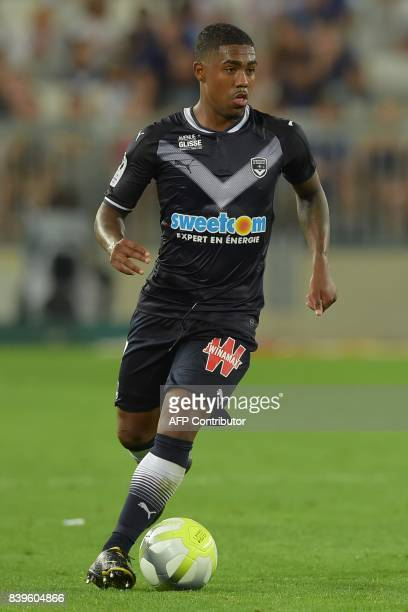 Bordeaux's Brazilian forward Malcom drives the ball during the French L1 football match between Bordeaux and Troyes on August 26 2017 at the Matmut...