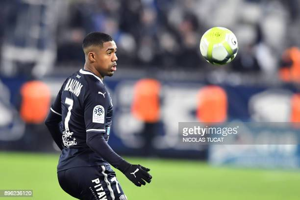 Bordeaux's Brazilian forward Malcom eyes the ball during the French L1 football match between Bordeaux and Montpellier on December 20 at the Matmut...