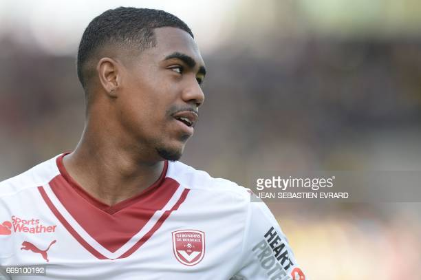CORRECTION Bordeaux's Brazilian forward Malcom Filipe Silva de Oliveira also known as Malcolm reacts during the French L1 football match Nantes vs...