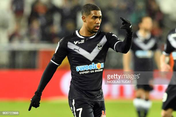 Bordeaux's Brazilian forward Malcom gestures during the French L1 football match between Bordeaux and Caen on January 16 2018 at the Matmut...