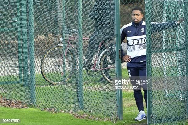 Bordeaux's Brazilian forward Malcom looks on during a training session on January 17 2018 at the Haillan training center near Bordeaux southwestern...