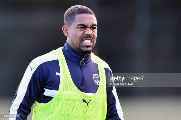 Bordeaux's Brazilian forward Malcom reacts during a training session on January 11 2018 at the Haillan training centre near Bordeaux southwestern...