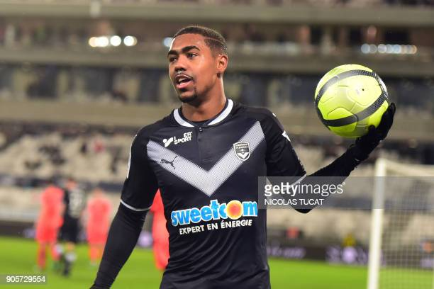 Bordeaux's Brazilian forward Malcom reacts during the French L1 football match between Bordeaux and Caen on January 16 2018 at the Matmut Atlantique...