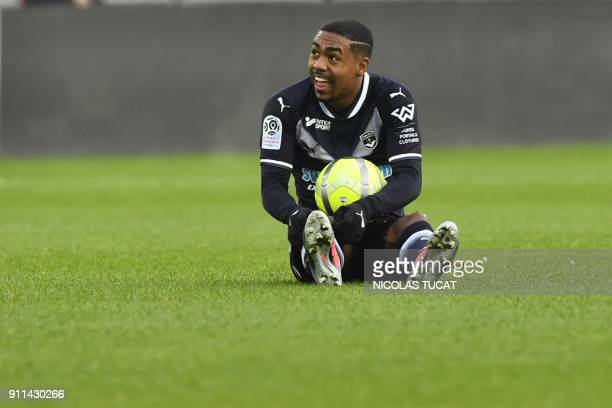 Bordeaux's Brazilian forward Malcom reacts during the French L1 football match between Bordeaux and Lyon on January 28 at the Matmut Atlantique...