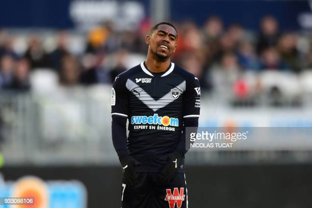 Bordeaux's Brazilian forward Malcom reacts during the French L1 football match between Bordeaux and Rennes on March 17 at the Matmut Atlantique...