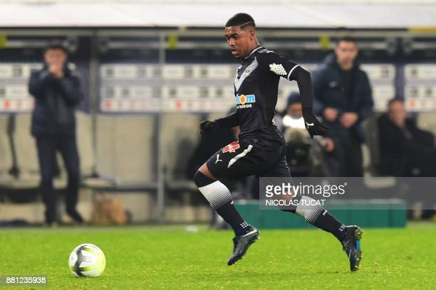 Bordeaux's Brazilian forward Malcom runs with the ball during the French L1 football match between Bordeaux and SaintEtienne on November 28 2017 at...